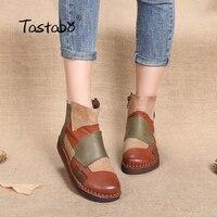 Tastabo/модная дизайнерская обувь, женские Разноцветные Повседневные ботильоны ручной работы в стиле ретро, женская обувь из натуральной кожи ...
