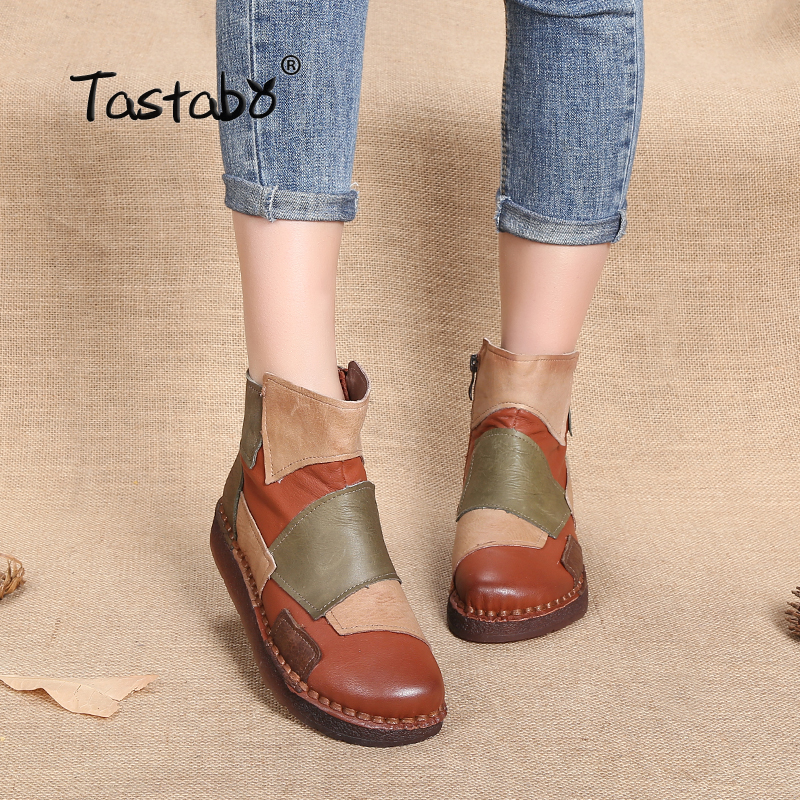 Tastabo Fashion Design Shoes Women Mixed Color Retro Casual Handmade Ankle Boots Flat Real Genuine Leather Women Shoes