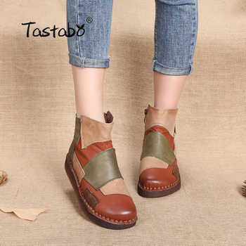 Tastabo Fashion Design Shoes Women Mixed Color Retro Casual Handmade Ankle Boots Flat Real Genuine Leather Women Shoes - DISCOUNT ITEM  49% OFF All Category
