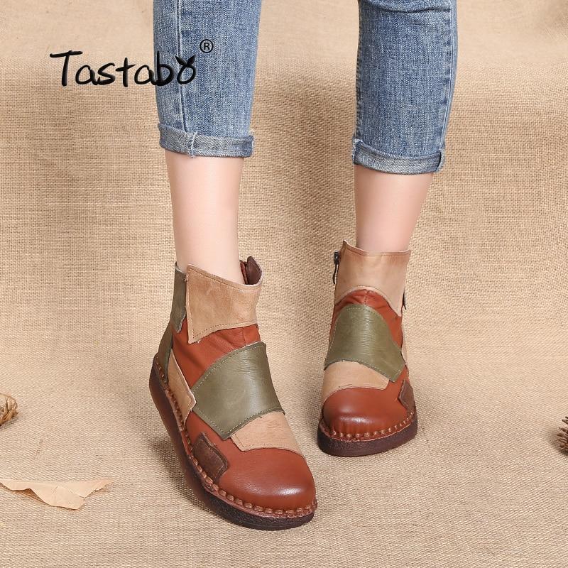 Tastabo الأزياء تصميم أحذية النساء مختلطة اللون الرجعية عارضة اليدوية حذاء من الجلد شقة الحقيقي جلد طبيعي النساء الأحذية-في أحذية الكاحل من أحذية على  مجموعة 1