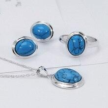 Настоящее чистое 925 пробы серебряные Ювелирные наборы геометрический простой дизайн для женщин с натуральным камнем бирюза ювелирные изделия