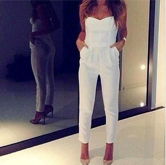 S-XL fashion sexy strapless slim women pants black white macacao feminino summer lady jumpsuit off shoulder sleeveless trousers