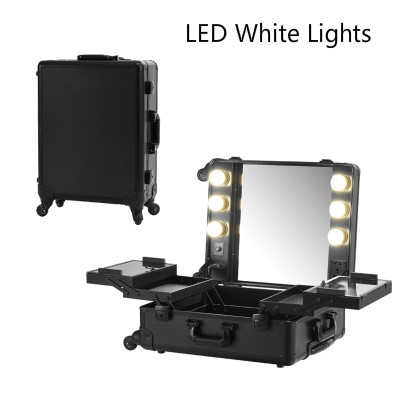 Aliexpress.com : Buy Black LED White Lights Makeup Case With Lights  Professional Rolling Beauty Station Box Portable With Foldable Tray 2016  New From ...