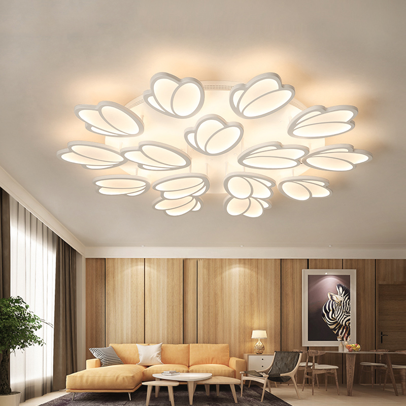 Hot Surface Mounted Modern Led Ceiling Lights For Living Room Bedroom 3/5/9/12/15 Petals Ceiling Lamp Fixtures 110V 220V new surface mounted led ceiling lights wood modern light fixtures for living room dining room bedroom led ceiling lamp 220v