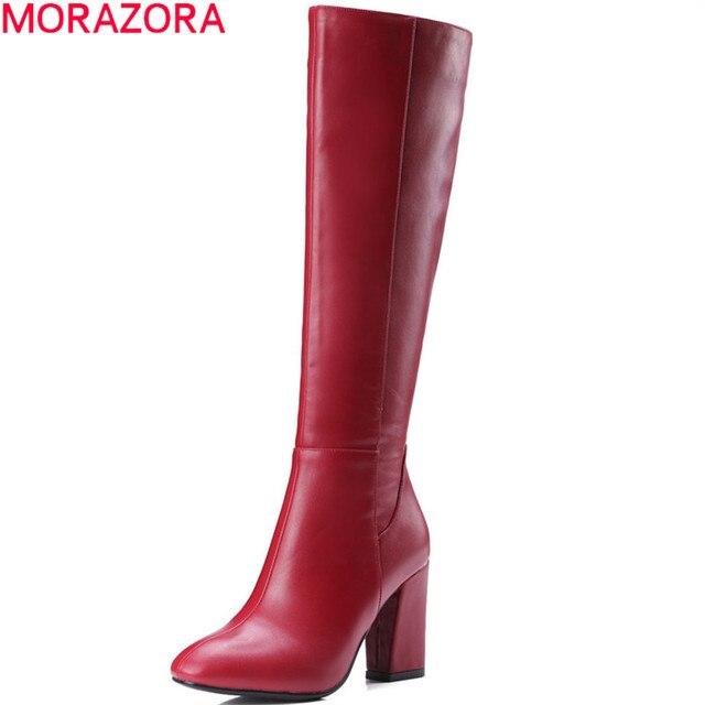 Morazora/черный красный Женские осенние сапоги обувь на квадратном каблуке на молнии женские сапоги обувь на квадратном каблуке из высококачественной искусственной кожи модные сапоги до колена высокие сапоги