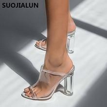 2019 Summer Women Sandals Transparent Clear High Heels Mules Thick Clear Block Heels Slides Heels Peep Toe Shoes Women two part clear block heels