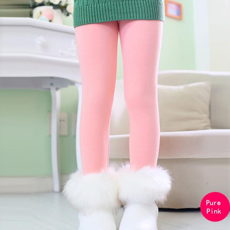SheeCute/новые модные детские От 3 до 11 лет; сезон весна-осень-зима; теплые хлопковые брюки для девочек; детские брюки; леггинсы с принтом - Цвет: PurePink