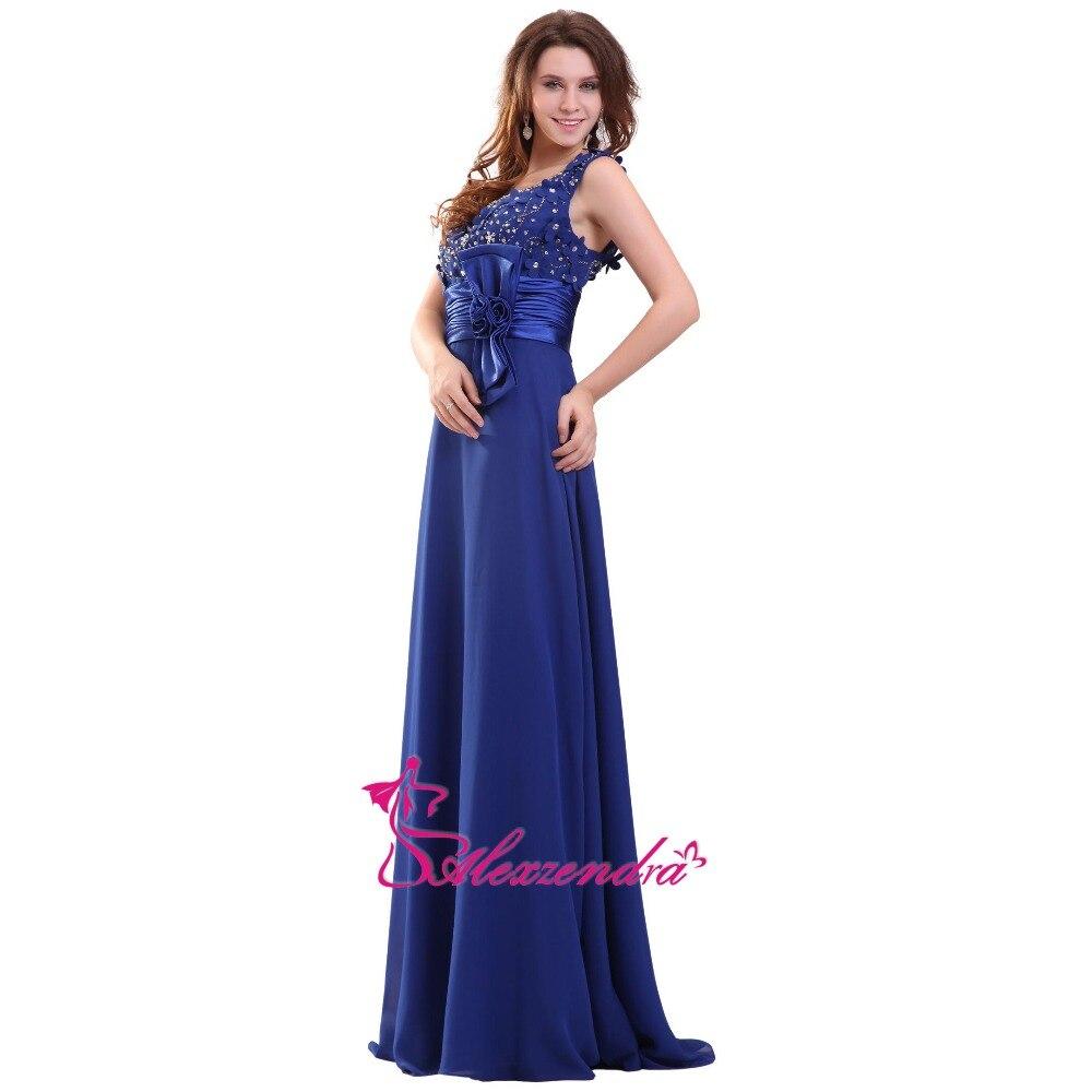 Alexzendra Royal Blue Chiffon A Line   Prom     Dresses   Double V Neck Long Evening Gowns Party   Dress   Plus Size