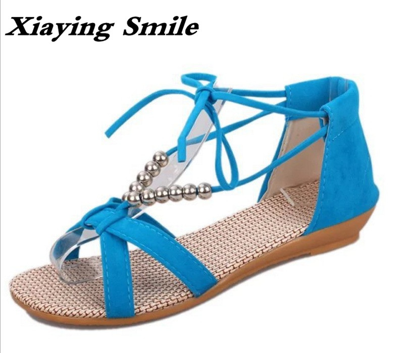 Xiaying Smile Summer New Women Sandals Casual Fashion Shoes Beach Bohemian Style Flats Cover Heel String Bead Lace Hollow Shoes xiaying smile summer woman sandals fashion women pumps square cover heel buckle strap bling casual concise student women shoes