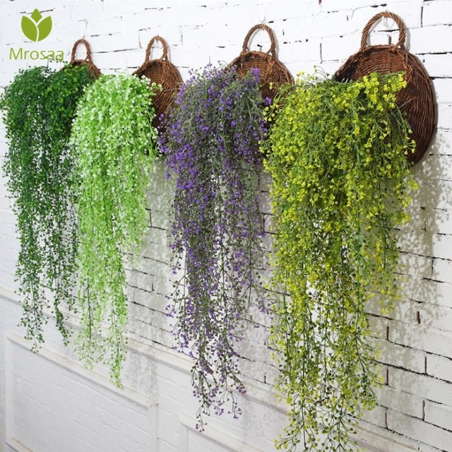 Simulation Rattan Plant Flower Artificial Fake Flower Hang Green Flowers  Living Room Wall Decoration Party Home