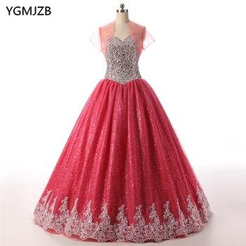 468853b28b Vestidos de quinceañera 2018 vestido de bola rebordeado amor Crystal Encaje  vestidos de 15 anos dulce