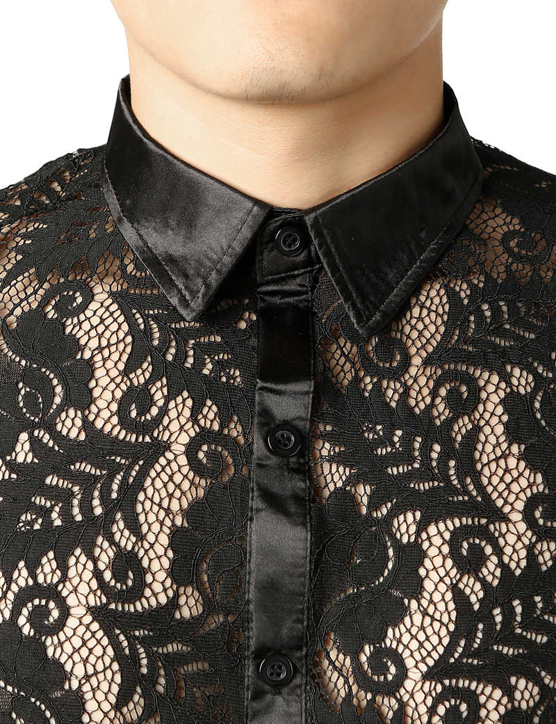 セクシーなシャツ男性葉デザイン刺繍レースシュミーズオムメンズスリムフィットナイトクラブ Dj ウェディング結婚ドレスシャツ