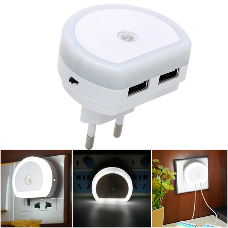 Sensor Night Light With Dual USB Port Phone Charger Led Lamps Mood Kids Baby Lamp EU/US Plug Socket Wall Night Lamp Luminaria