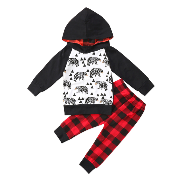 e8a7e6464 0-24M baby 2PCS set Newborn Toddler Baby Boy Cartoon Hoodie Sweatshirt Top+ red black plaid Pants Outfit christmas baby clothes