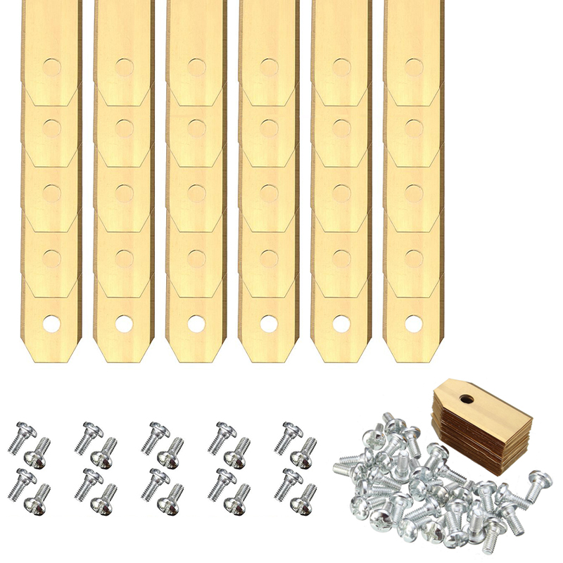 Lâminas de Cortador de Grama com Parafusos para Automower Pces Ouro Titanium Substituição 30 x 0.6mm