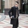 Custom made 2017 New design new arrival Preto casaco masculino casaco de lã fina outerwear trincheira