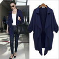 2016 New Fashion Women Celebrity Windbreaker Casual Cardigan Tops Outwear Solid Trench Chaming Lady Coat S-XL NXH01216