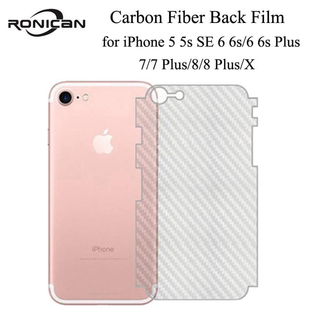 5Pcs iPhone 6 6s 7 8 Plus 5s Full Cover 3D Anti fingerprint Carbon Fiber Back Screen Protector Film For iPhone X XR XS 11Pro Max