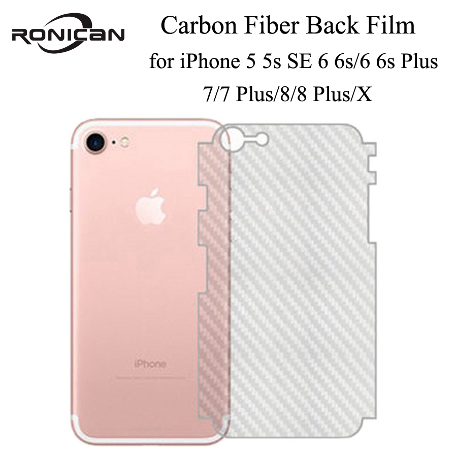 5Pcs On IPhone 5 5s SE 6 6s 7 8 Plus Full Cover 3D Anti-fingerprint Carbon Fiber Back Screen Protector Film For IPhone XR XS MAX