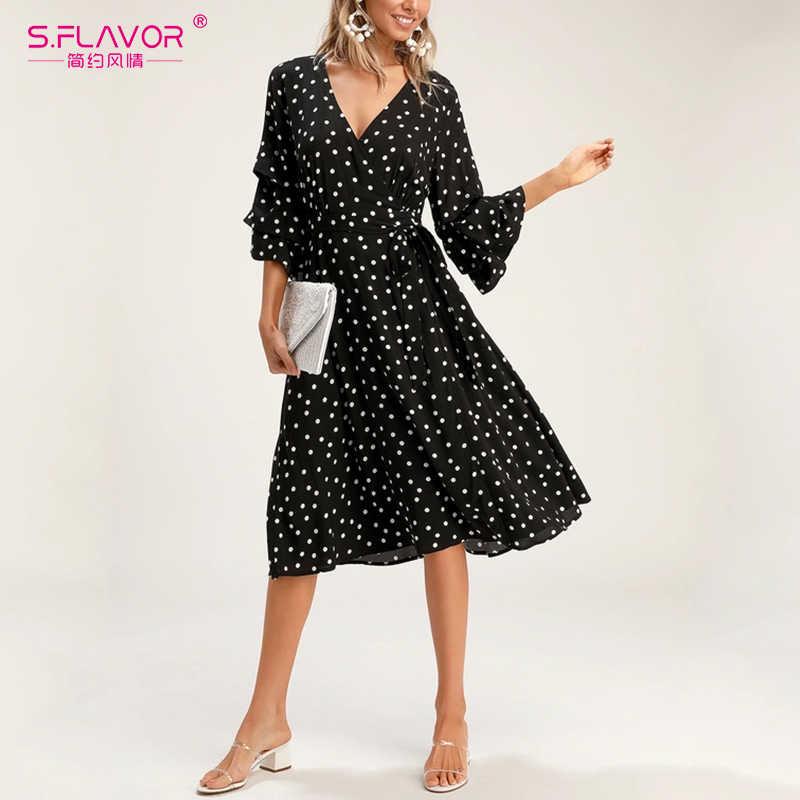 S. FLAVOR женское Ретро точечное волнистое чайное платье, женское богемное повседневное летнее платье, классическое весеннее лет