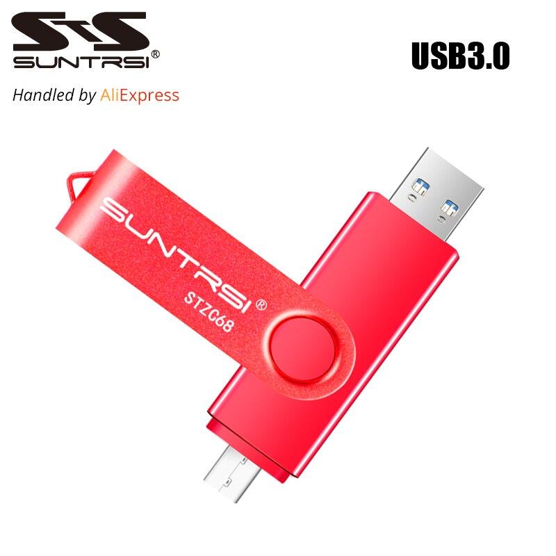 Suntrsi usb otg unidad flash usb 3.0 pendrive de almacenamiento externo de 16 gb 32 GB USB Stick Pen Drive de Alta Velocidad para Android USB Flash