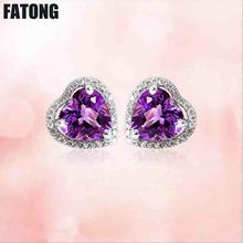 925 silver natural amethyst earrings female European and American jewelry factory direct sales. J0175