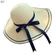Женская летняя соломенная плетеная пляжная шляпа с козырьком, длинная шляпа с ласточкиным хвостом и бантом, цветная полосатая Панама, складная пляжная шляпа с широкими полями