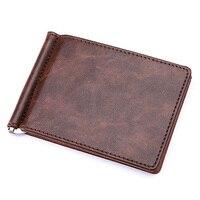 KUDIAN BEAR Leather Men Money Clips Metal Solid Wallets Credit Card Wallet Money Holder Clamp Portafoglio