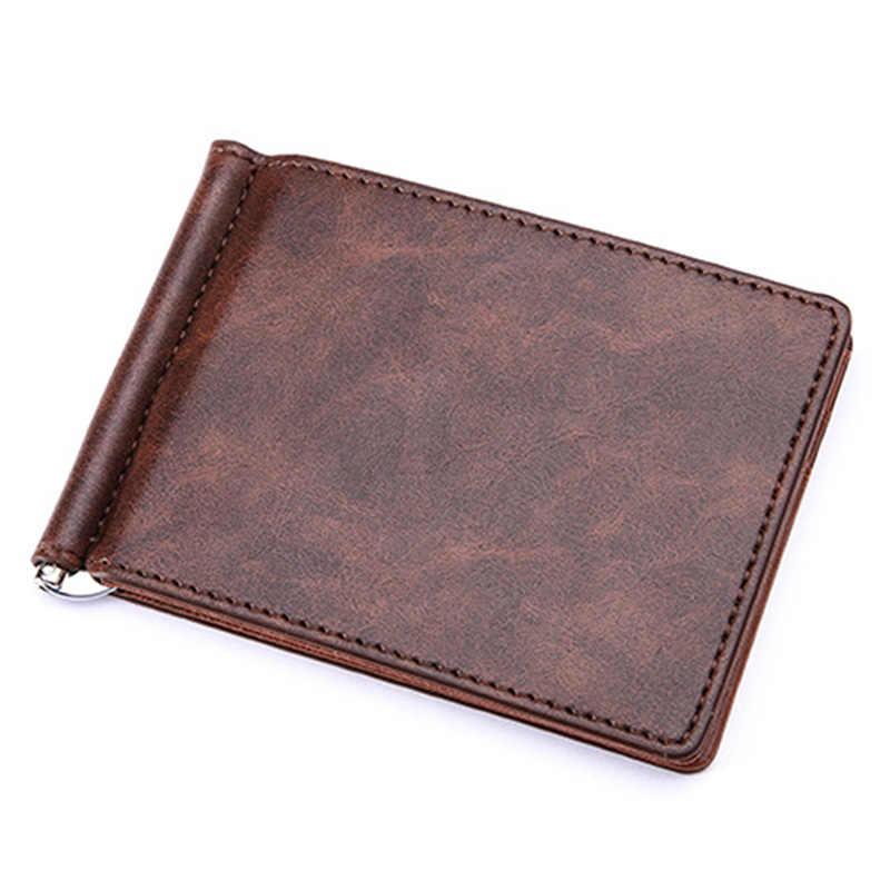 KUDIAN BEAR Leather Men Money Clips Metal Solid Wallets Credit Card Wallet Money Holder Clamp portafoglio New-- BID196 PM49