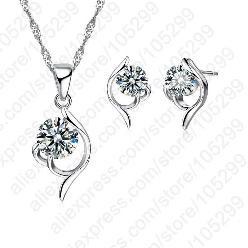 Latest Shinning Woman Gift 925 Sterling Silver Jewelry CZ Pendant Necklace Earring Lady Wedding Engagement Set