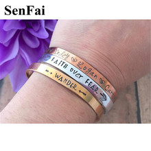 Senfai Handmade Custom Name Bracelets for womens mens Rose Gold Customize Engraved Cute Cuff Infinity Bracelet Bangle Jewelry