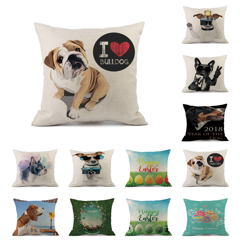 Pug Dog Happy Easter Cushion Cover Easter Egg Pillow Case Cotton Linen 45x45cm Pillow Cover Sofa Bed Home Decor Kussenhoes