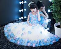 2018 spring kids party costume for girls prom dresses children's clothing girl fancy princess flower dress for wedding birthday
