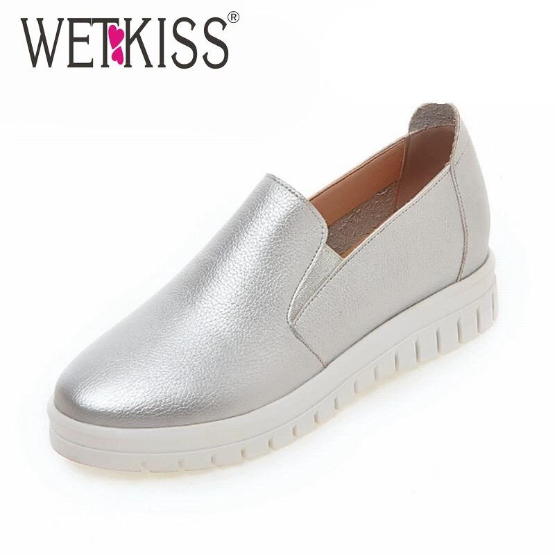 Wetkiss 2017 mujeres pisos sólidos slip on zapatos de mujer de altura aumento de