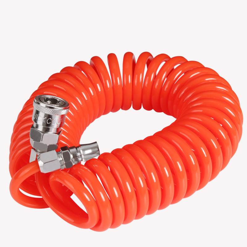 pneumatic spring pipe PU air hose high pressure hose with quick couple 6M 8X5mm color random to ship high quality 15mt pneumatic hose with 5 8 quick couplin spring trachea quick coupler air toube page 2
