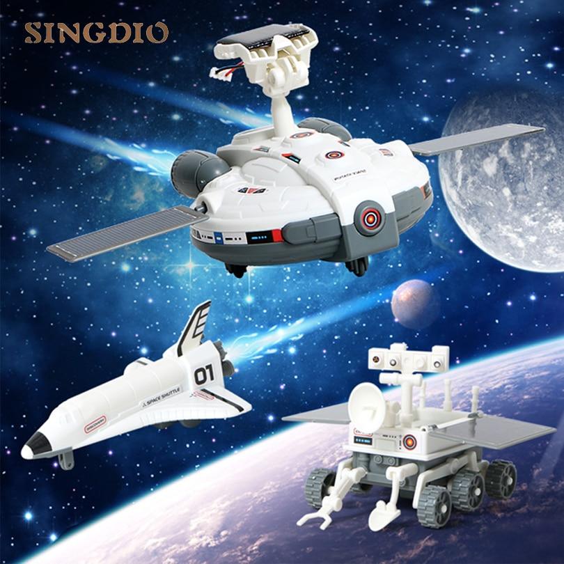 3 dans 1 Solaire Puissance expérience scientifique jouet enfants Diy Kit assembler robot espace station de base vaisseau spatial lune voiture Education cadeau