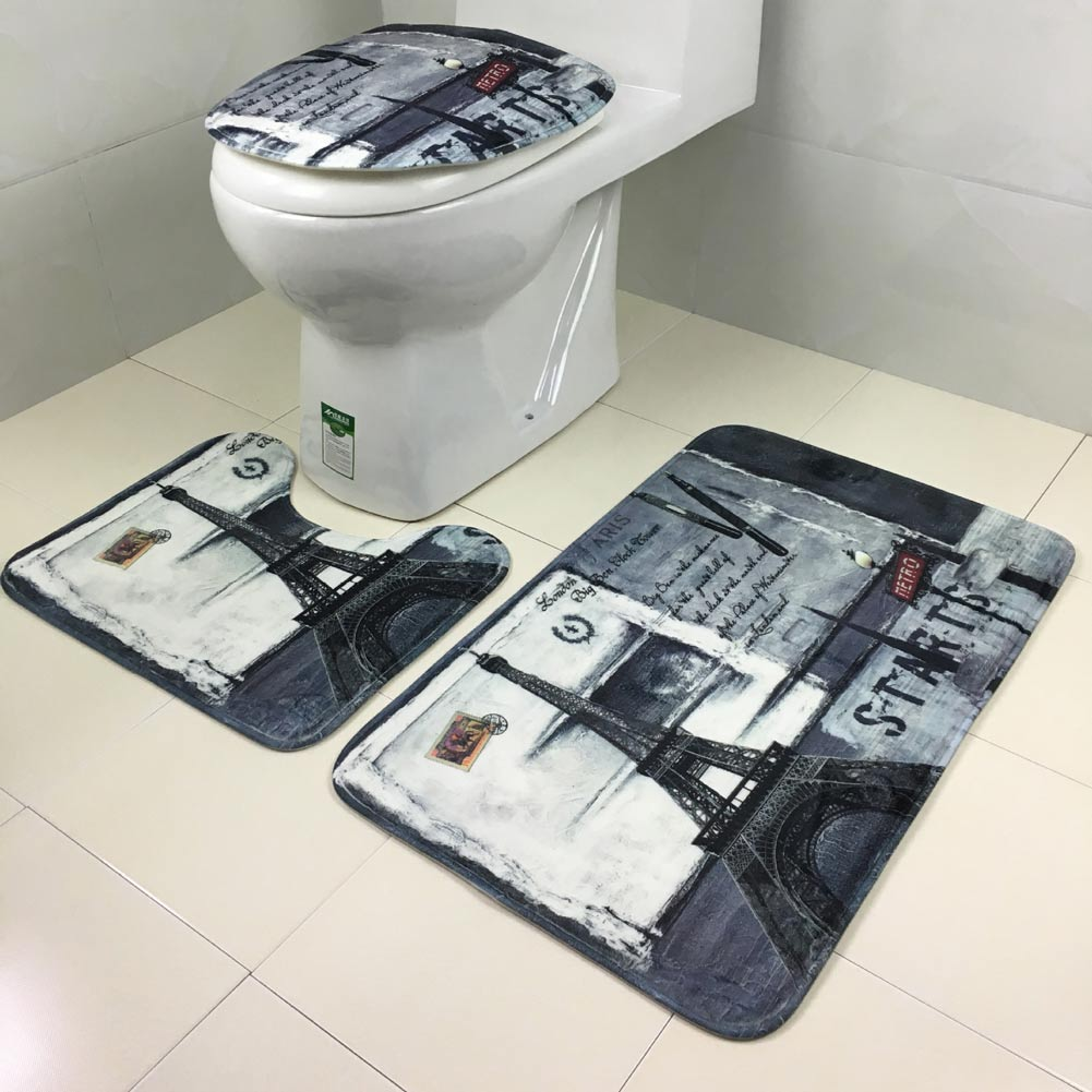 European style 3pcs set lid toilet seat cover pedestal rug for Washroom set