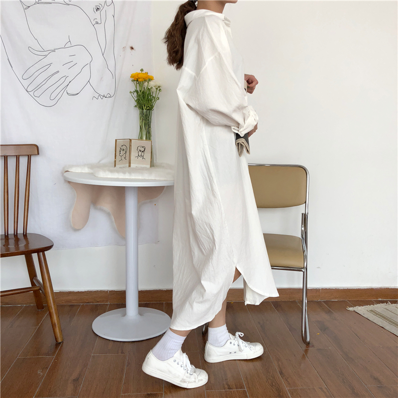 Vintage autumn Long Dress long Sleeve shirt turn down collar woman Lady loose shirt Casual Fashion maxi Dress cotton blue white 20