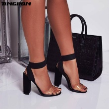 TINGHON New High Heels Summer Sandal Fashion Roman Elastic Band Shallow PVC Women Pumps Shoes Sexy Gladiator Sandals Black