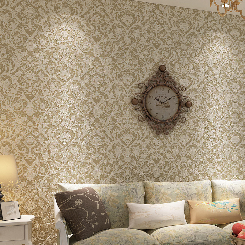 beibehang Vintage Damask Feature Wallpaper roll Wall paper Roll For Living Room Bedroom TV Backdrop Home Decoration papier peint beibehang wall coverings mural wall paper roll bedroom sofa off white textured feature europe vintage glitter damask wallpaper