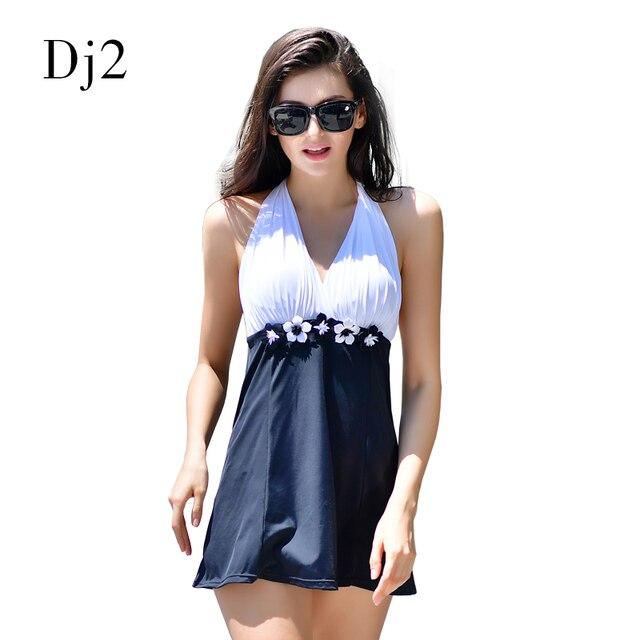c405c7a50060e Schwarz Weiß Patchwork Bademode Frauen Badeanzug Floral Badeanzug  Hochwertigen Strandkleid Sexy Monokini Swimdress XL