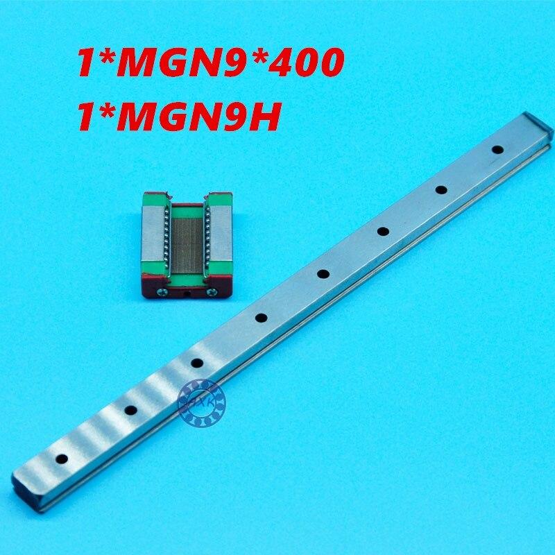 High quality 3D print parts cnc AXK MGN9 9mm miniature linear rail slide 1pcs 9mm L-400mm rail+1pcs MGN9H carriage 1pcs mgn9 175mm linear rail 1pcs mgn9h carriage