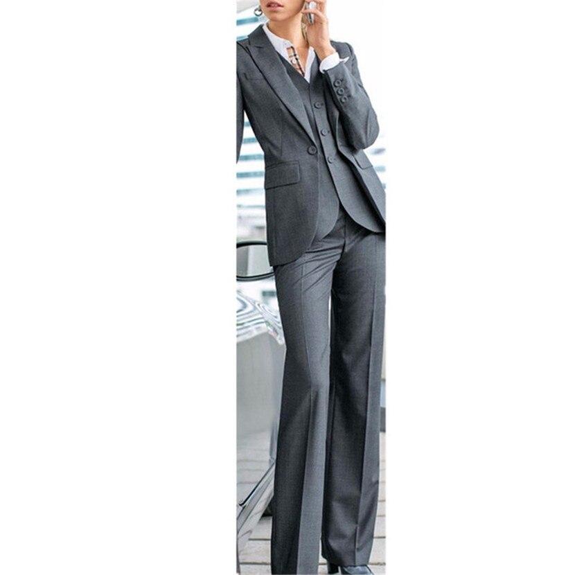 100% Wahr Neue Frauen Hose Anzüge Grau 3 Stück Formale Frauen Damen Business Büro Smoking Arbeit Tragen Anzüge Bespoke Neueste Technik