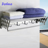 Dofaso Shelves Tempered Double Rack Shower Storage bathroom towel rack 60cm with adjustable extendtion shower towel shelf