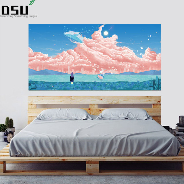 3D Fantasy Pink Cloud Heaboard Wall Sticker Seagull Dolphin Painting Wallpaper Kids Children baby Bedroom Mural Home Wallpaper