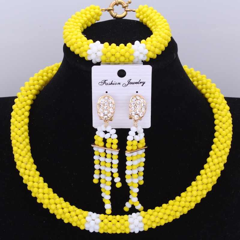 Dudo Nigerian Wedding African Crystal Beads Jewelry Set 2 Colors Transparent Opaque Bridal Necklace Set Handmade Jewellery Set