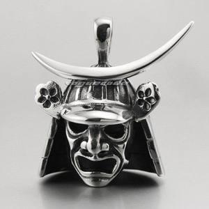 Image 3 - Japanese Samurai Armor Face Mark Pendant 316L Stainless Steel Mens Biker Rocker Punk Style 4P013 Steel Necklace 24inch