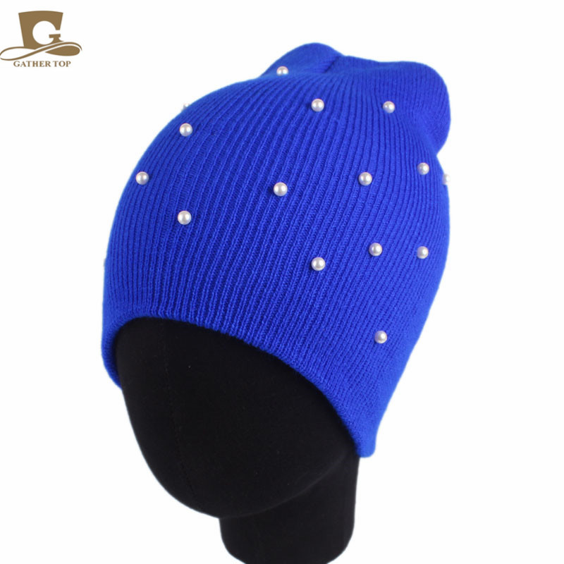 NEW Winter Warm Knitted Hats Pearled Beaded Knit Beanie Women Ski Cap Girls Knitting Caps