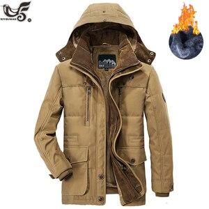 Image 2 - Giacca invernale da uomo di marca taglia 5XL 6XL giacca a vento spessa calda in pile di alta qualità parka imbottito in cotone abbigliamento soprabito militare