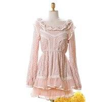 Принцесса сладкий Лолита Блузка Осенне зимняя обувь Высокая талия с длинными рукавами Блузка с кружевным воротником марли сладкий лотоса б